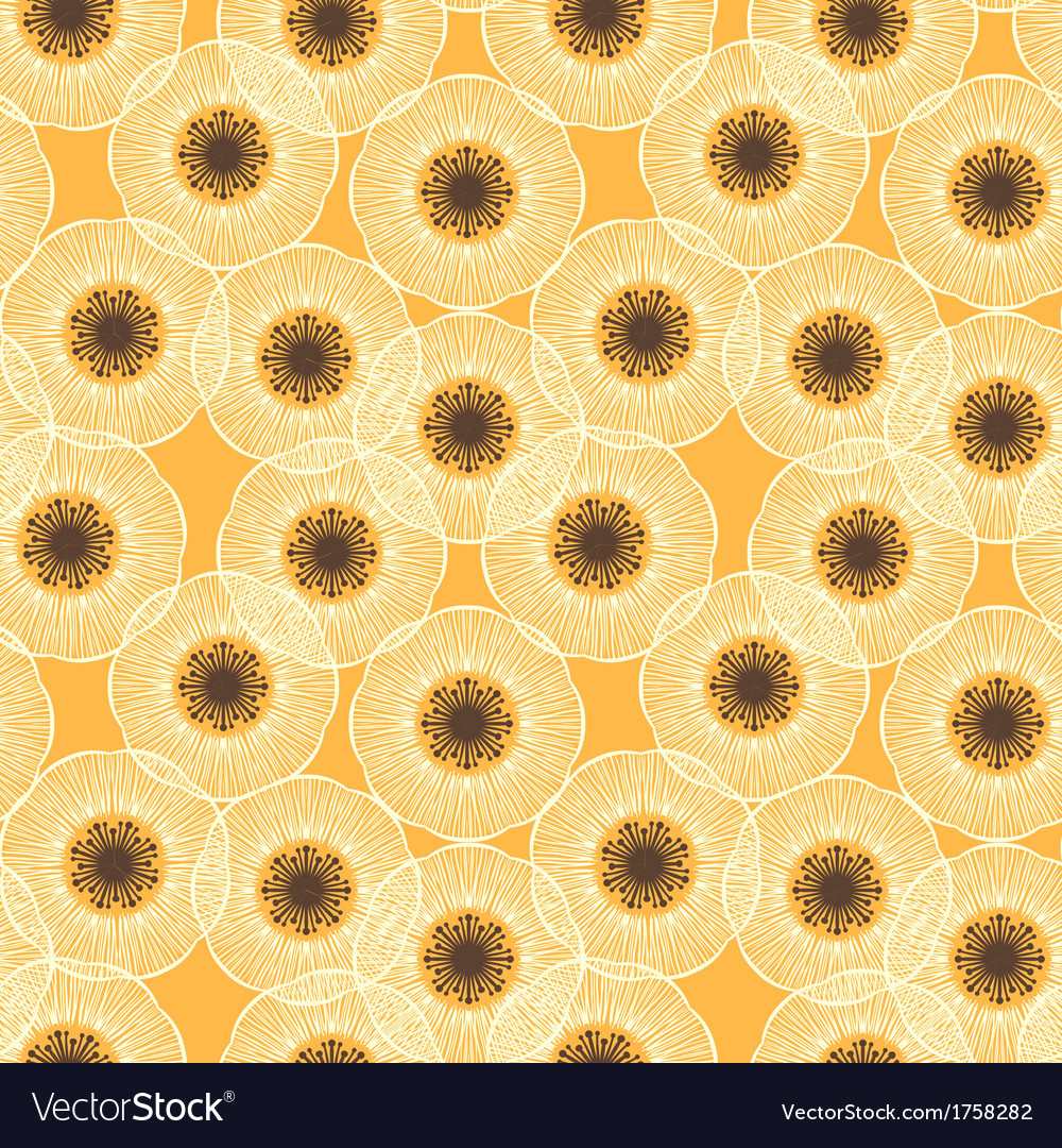 White poppy field 1950s vintage pattern vector | Price: 1 Credit (USD $1)
