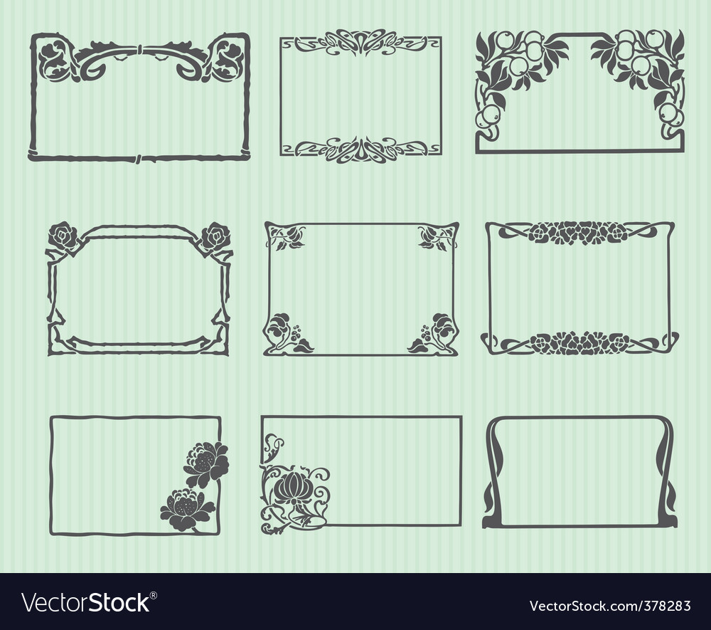 Art nouveau horizontal frame set vector | Price: 1 Credit (USD $1)