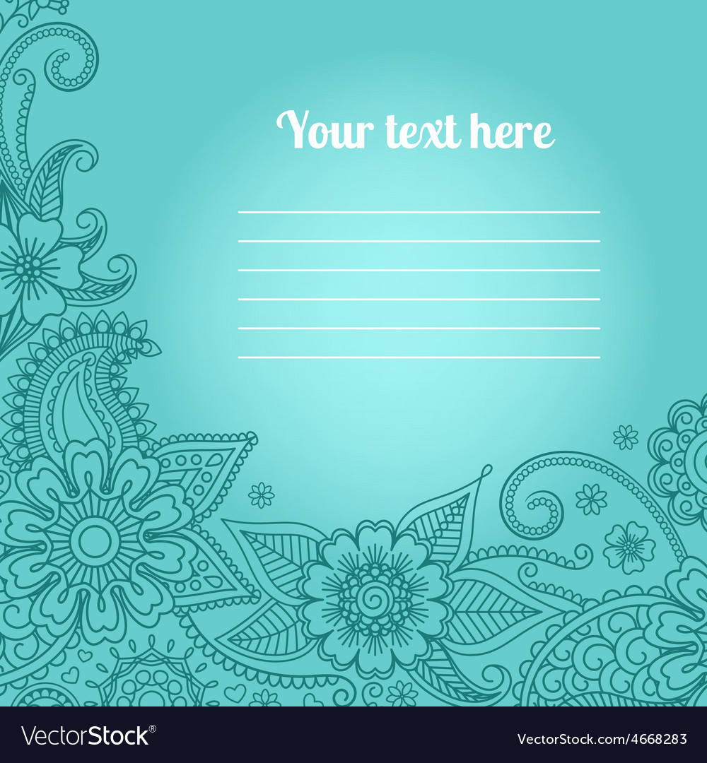 Card with floral paisley pattern vector | Price: 1 Credit (USD $1)