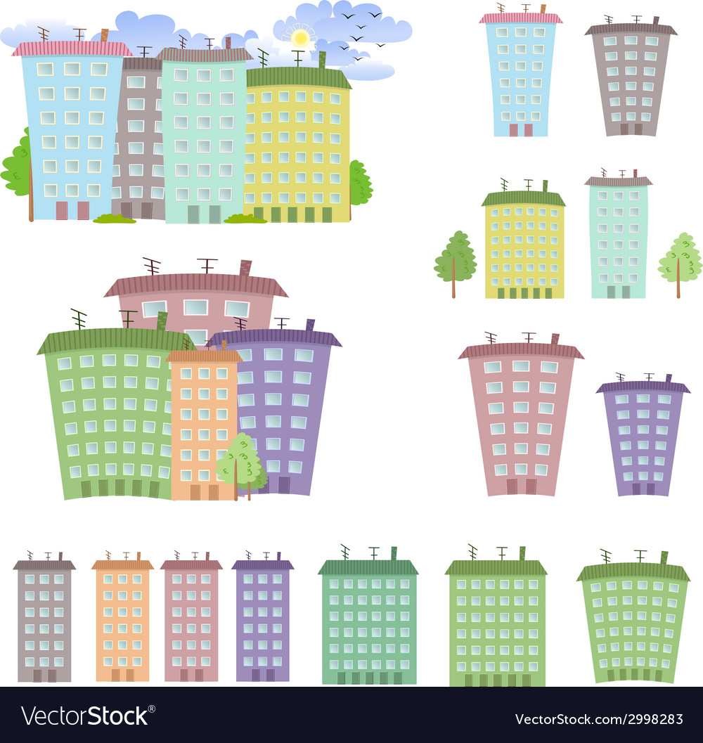 Collection of cartoon buildings vector | Price: 1 Credit (USD $1)