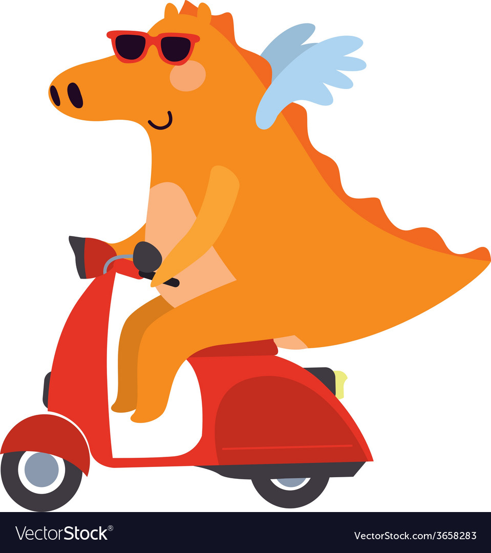 Dragon on a motor scooter vector | Price: 1 Credit (USD $1)