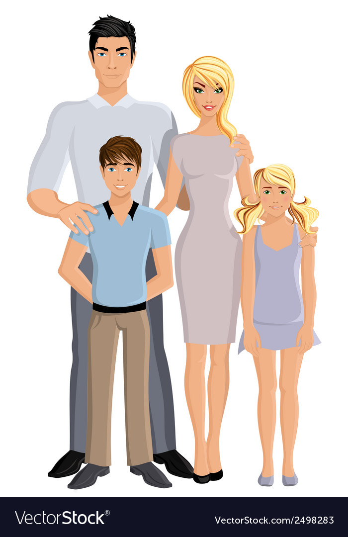 Happy family full length vector | Price: 1 Credit (USD $1)