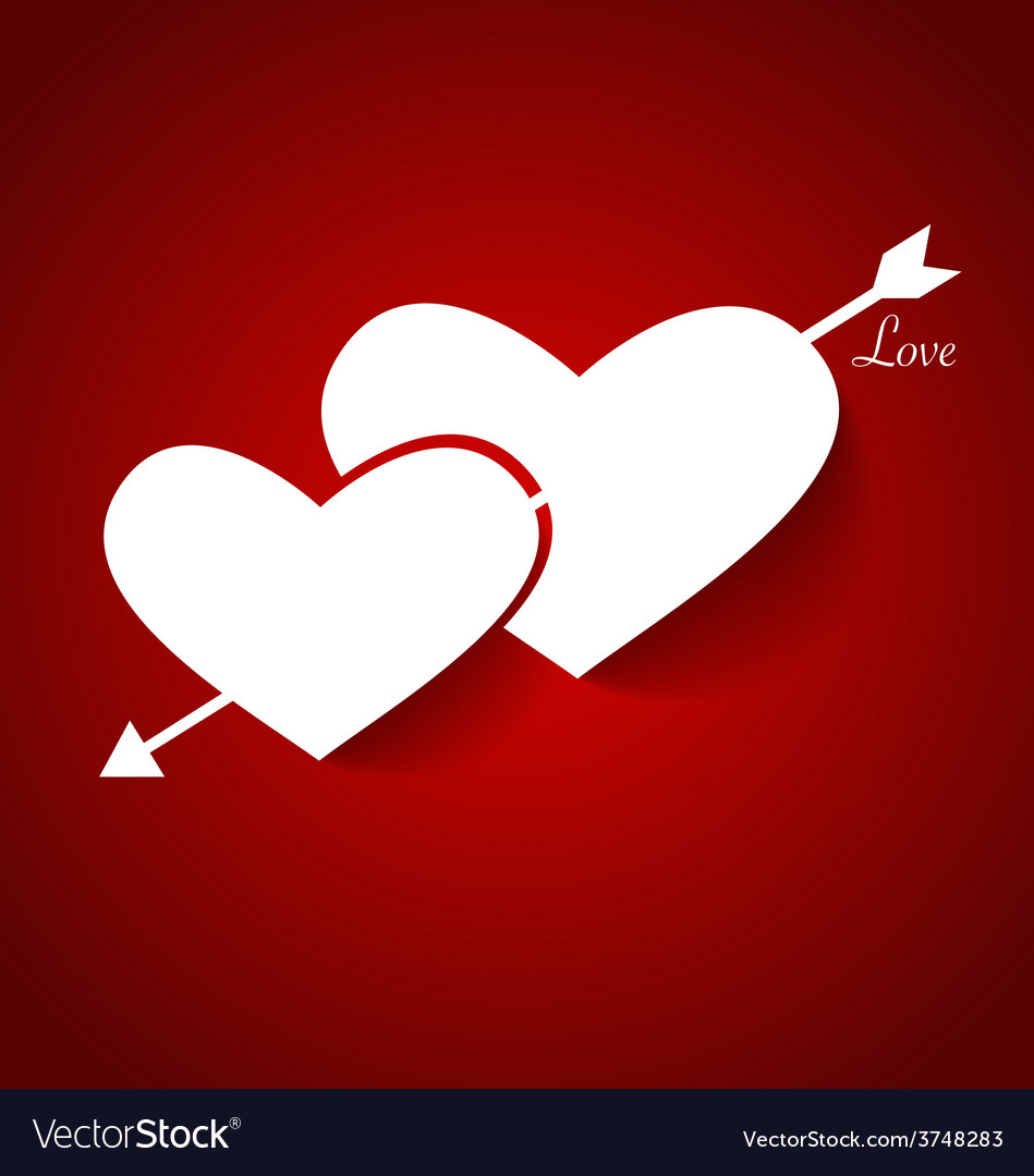 Heart paper with shadow for valentines day vector | Price: 1 Credit (USD $1)
