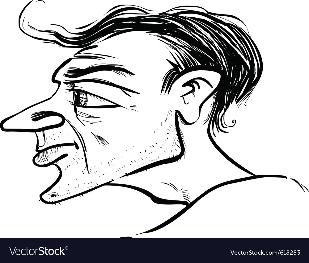 Man profile caricature sketch vector | Price: 1 Credit (USD $1)