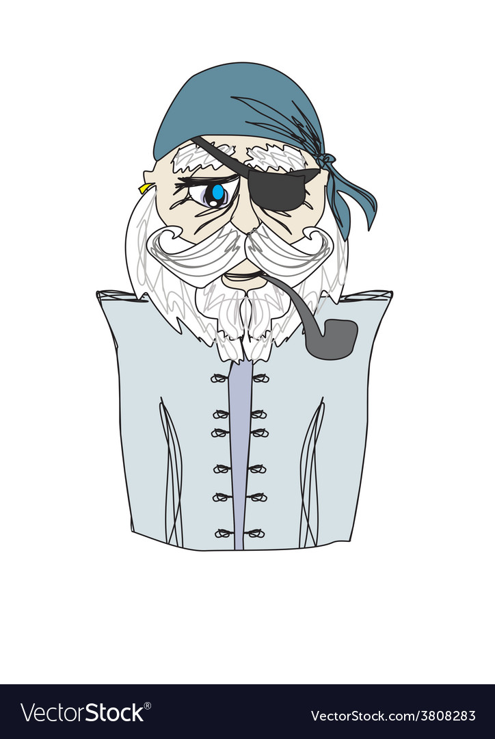 Old pirate captain doodle portrait vector | Price: 1 Credit (USD $1)