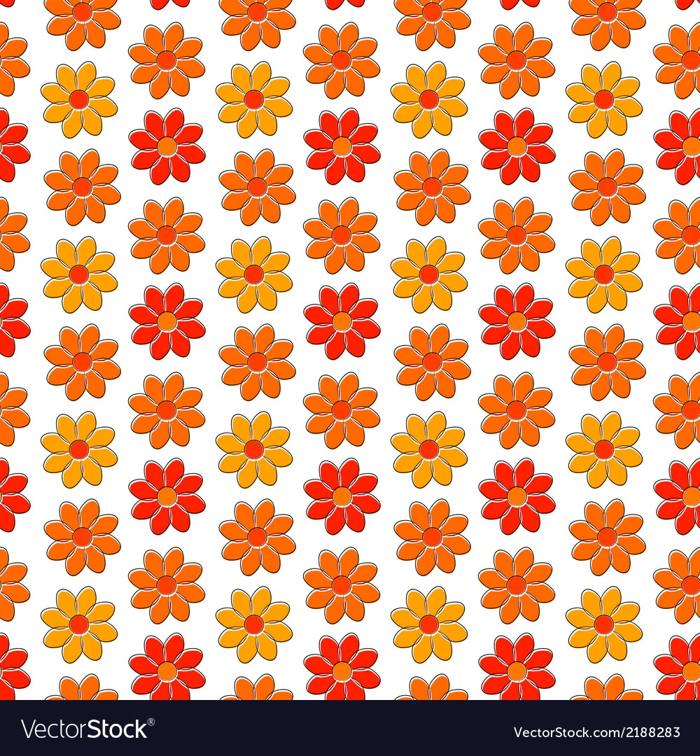 Seamless pattern with yellow and red camomiles vector | Price: 1 Credit (USD $1)