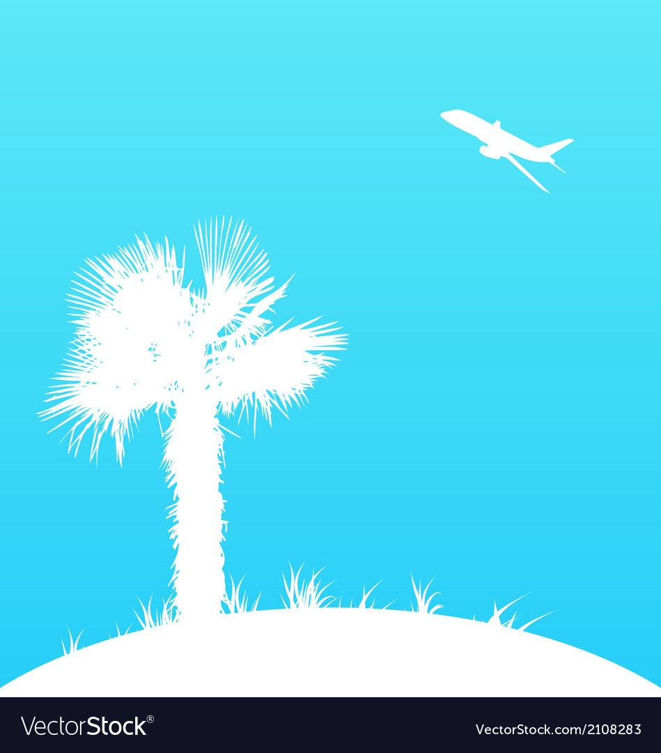 Summer background with palm tree and airplane vector | Price: 1 Credit (USD $1)