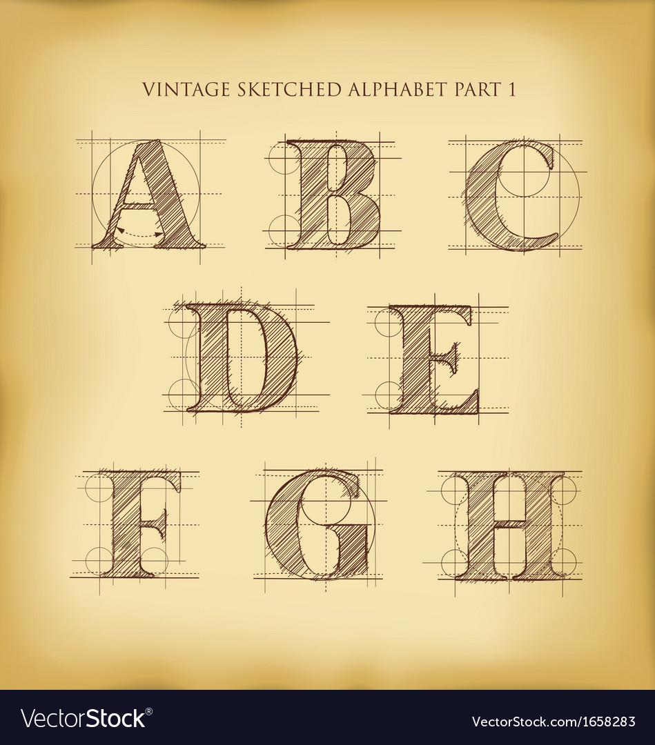 Vintage sketched alphabet set 1 vector | Price: 1 Credit (USD $1)