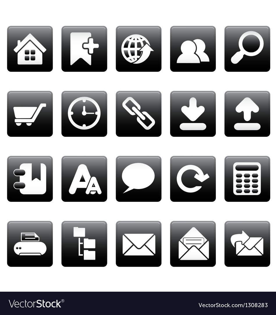 White web site icons on black squares vector | Price: 1 Credit (USD $1)
