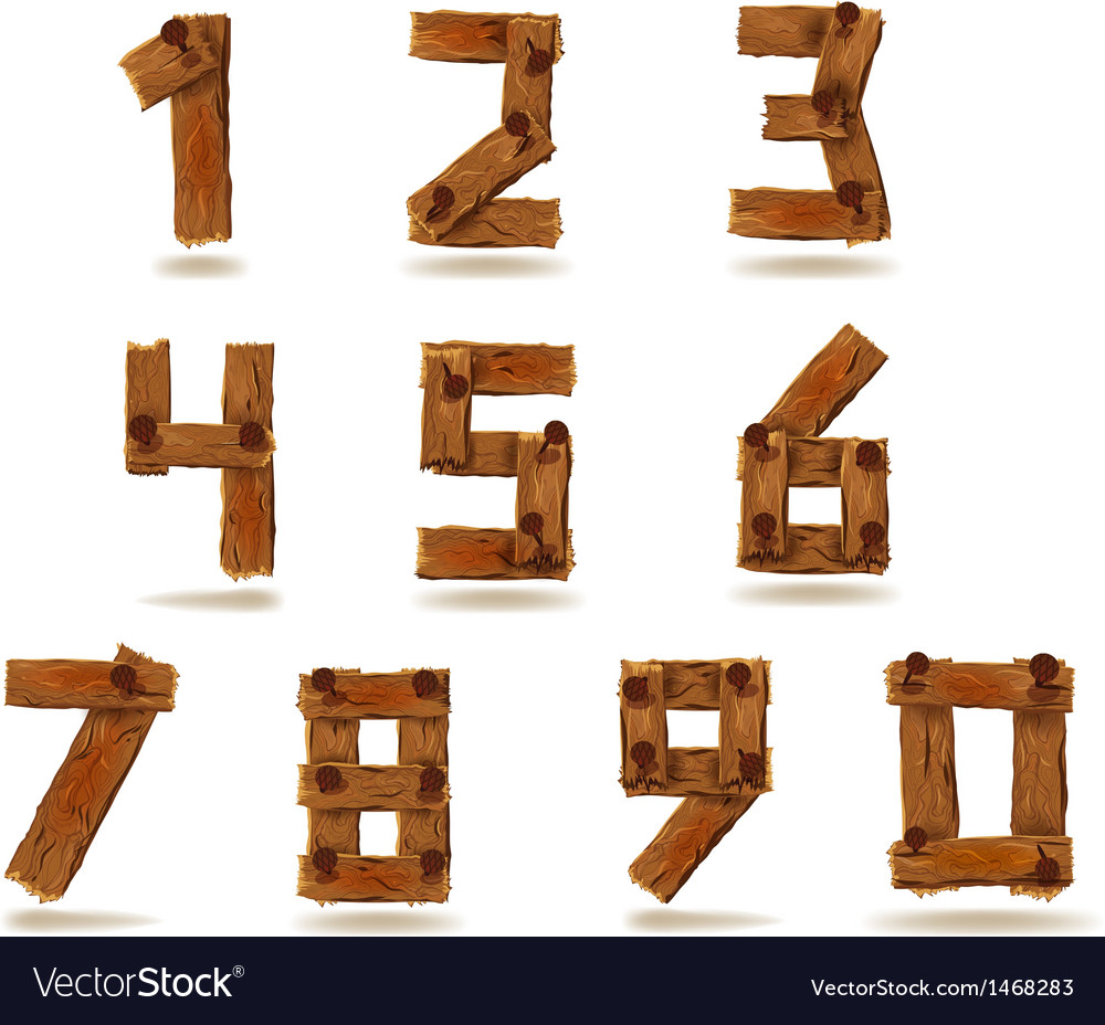 Wooden numbers vector | Price: 1 Credit (USD $1)