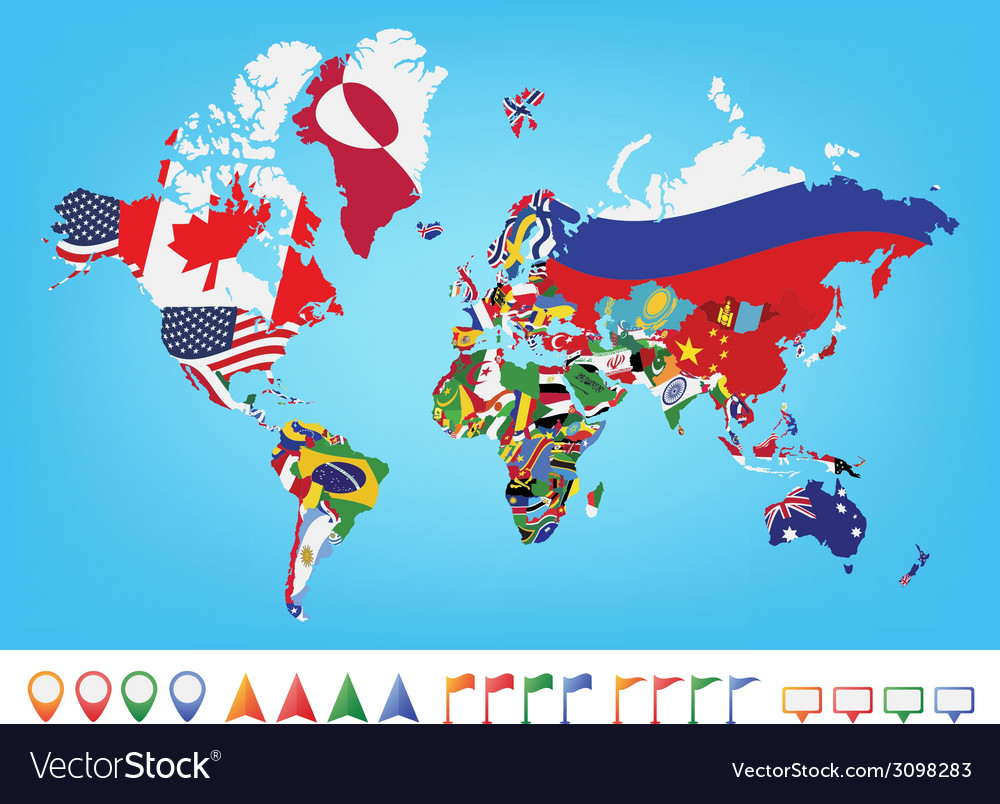 World map with flag vector
