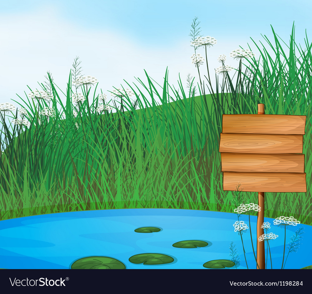 A pond with an empty signboard vector | Price: 1 Credit (USD $1)