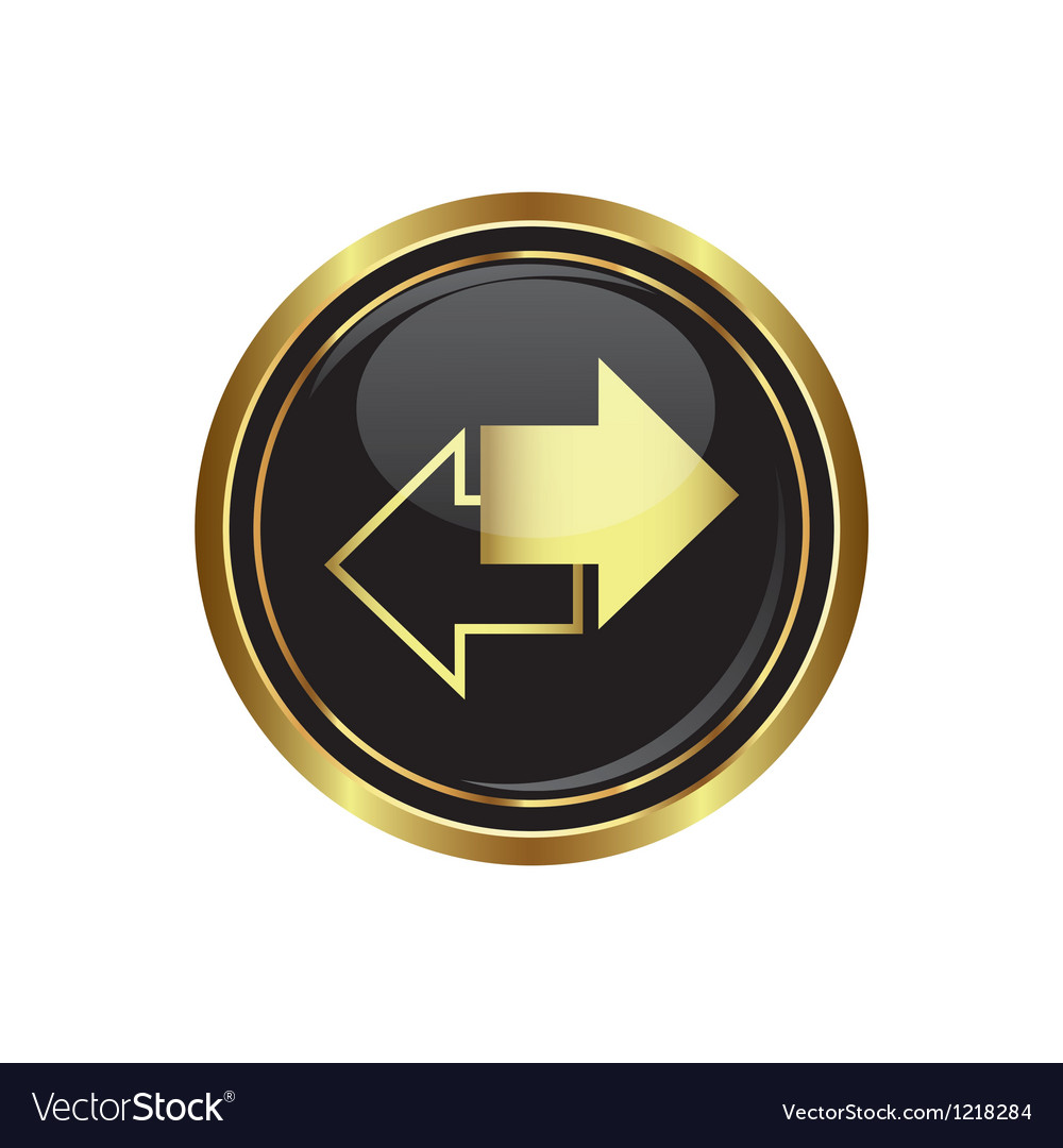 Arrows icon on black with gold button vector | Price: 1 Credit (USD $1)