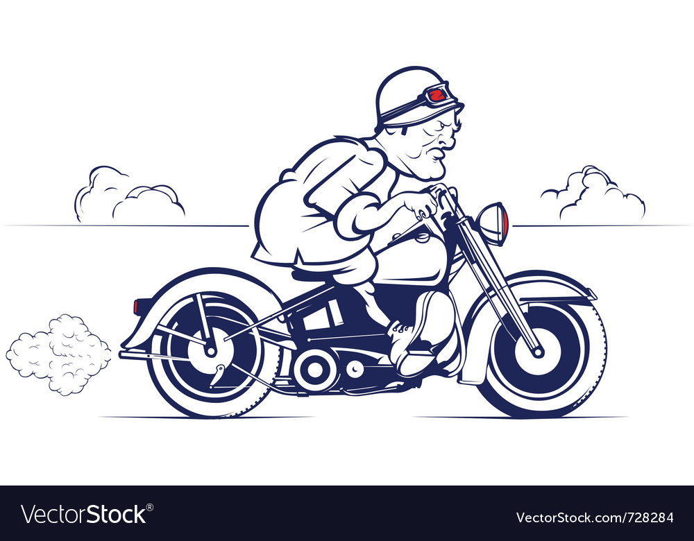 Cartoon biker ride vector | Price: 1 Credit (USD $1)