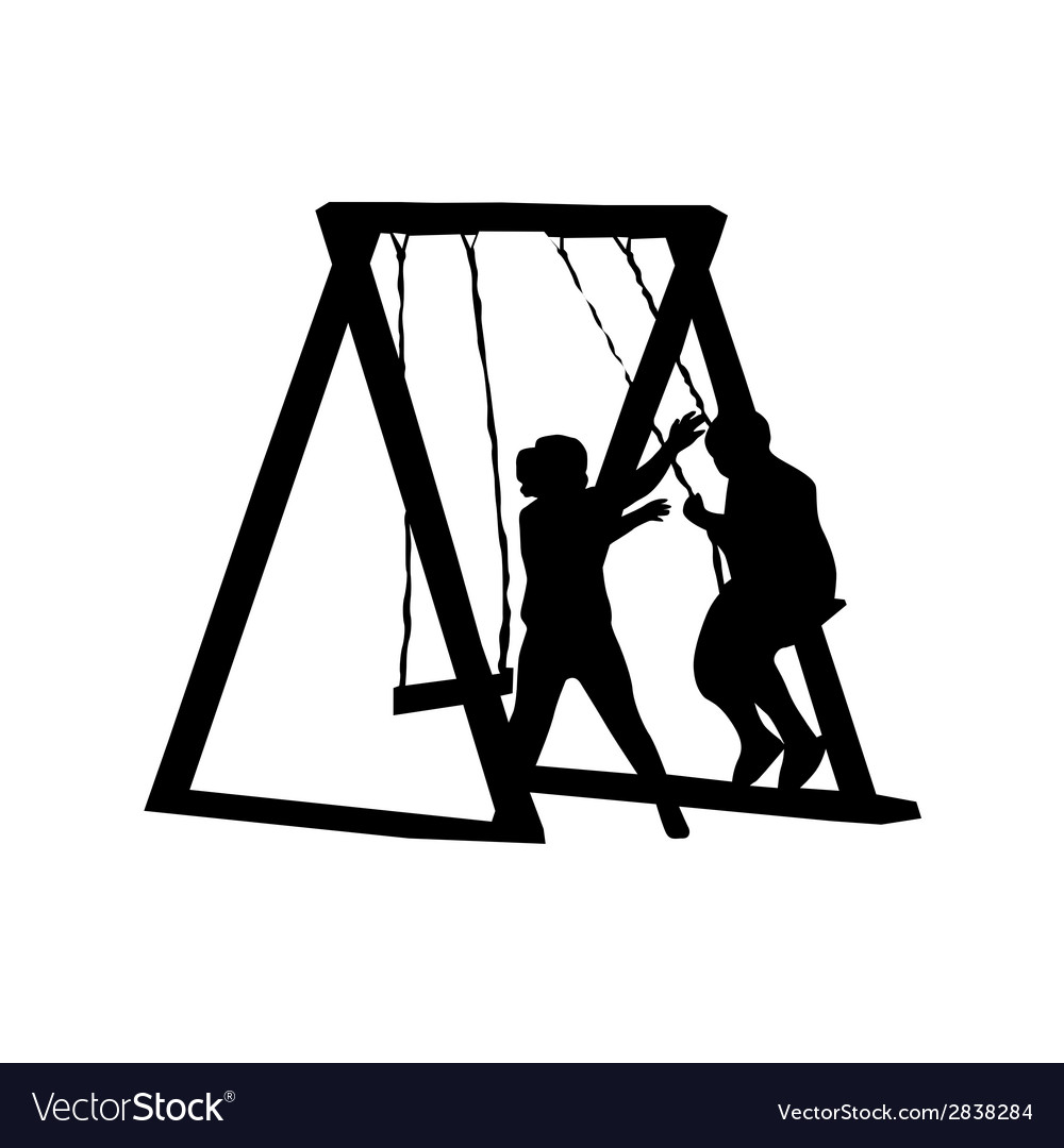 Children play on a swing vector