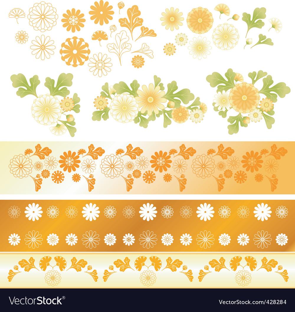 Chrysanthemum flower elements vector | Price: 1 Credit (USD $1)