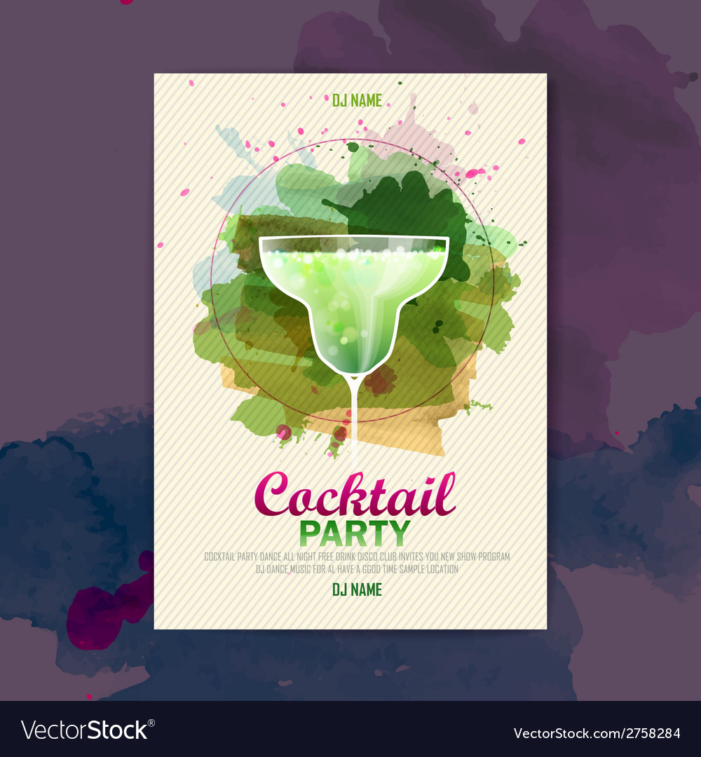 Cocktail watercolor paint disco poster vector | Price: 1 Credit (USD $1)