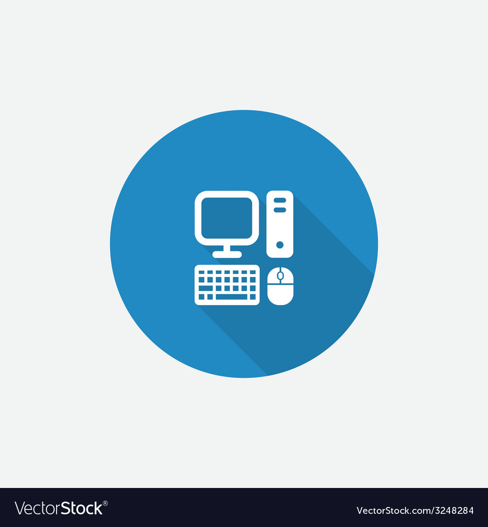 Computer flat blue simple icon with long shadow vector | Price: 1 Credit (USD $1)