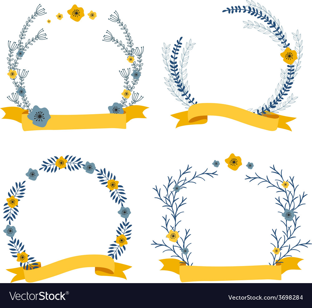 Floral wreath decorative composition with ribbon vector | Price: 1 Credit (USD $1)
