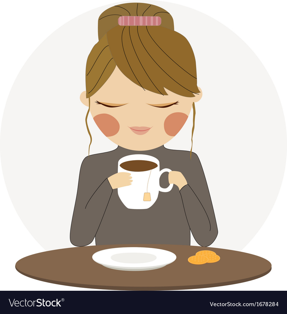 Girl drinks tea vector | Price: 1 Credit (USD $1)