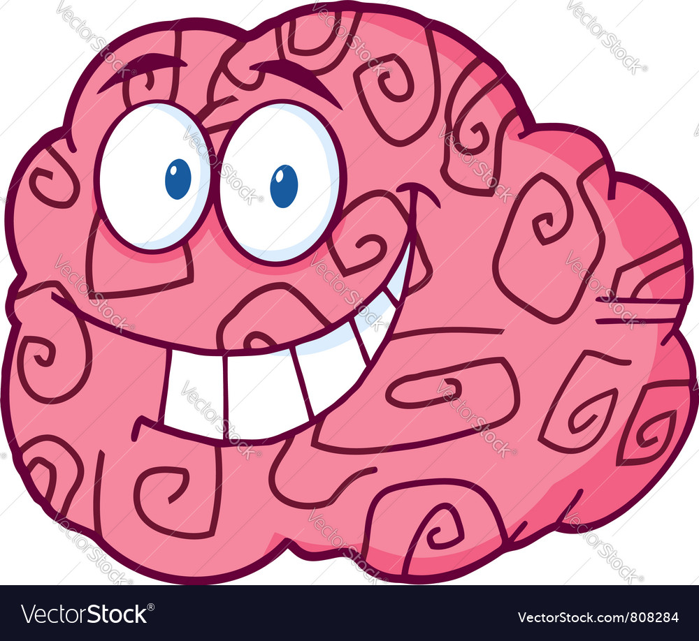 Happy brain cartoon vector | Price: 1 Credit (USD $1)