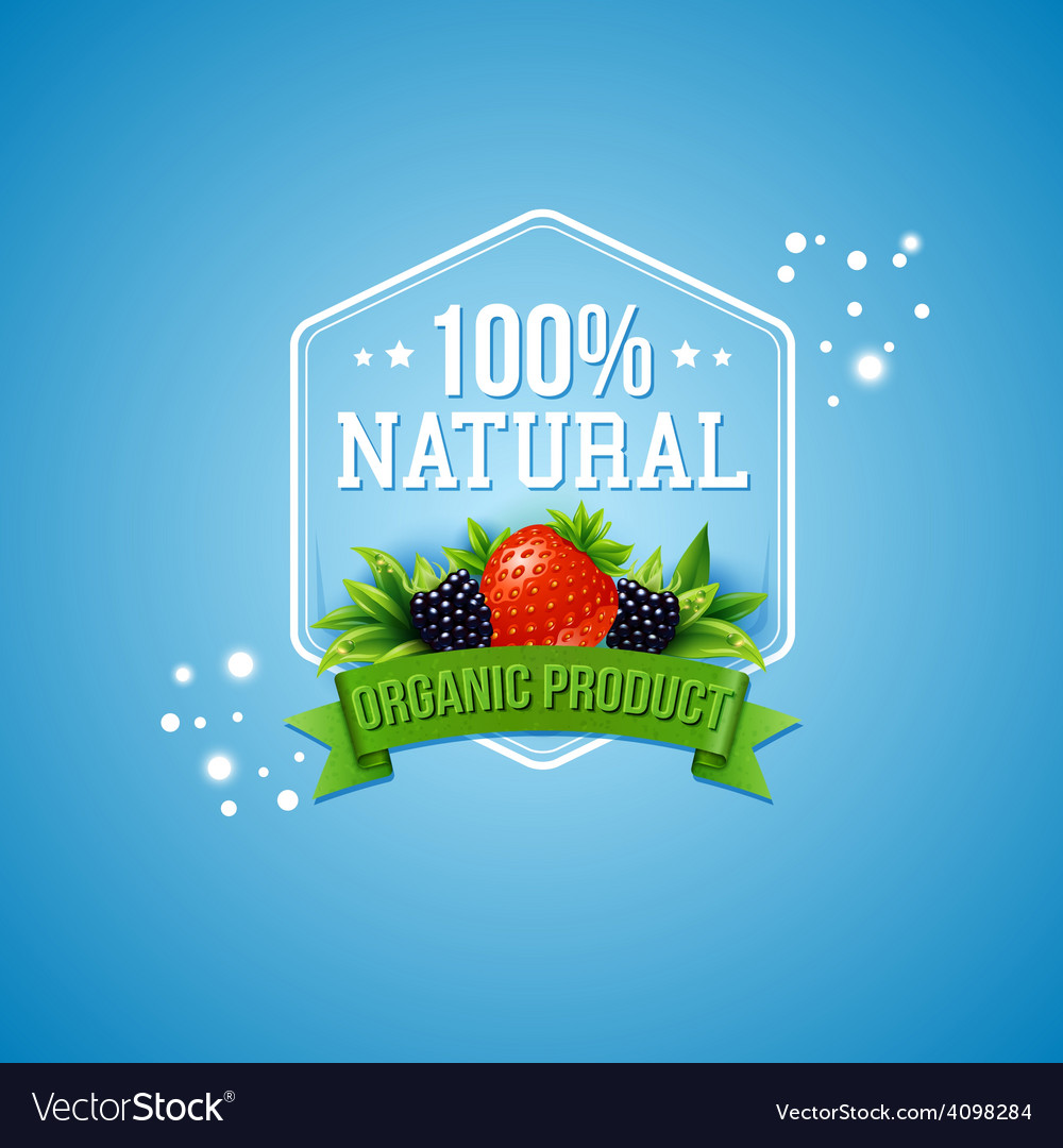 Hundred percent natural organic product vector | Price: 3 Credit (USD $3)