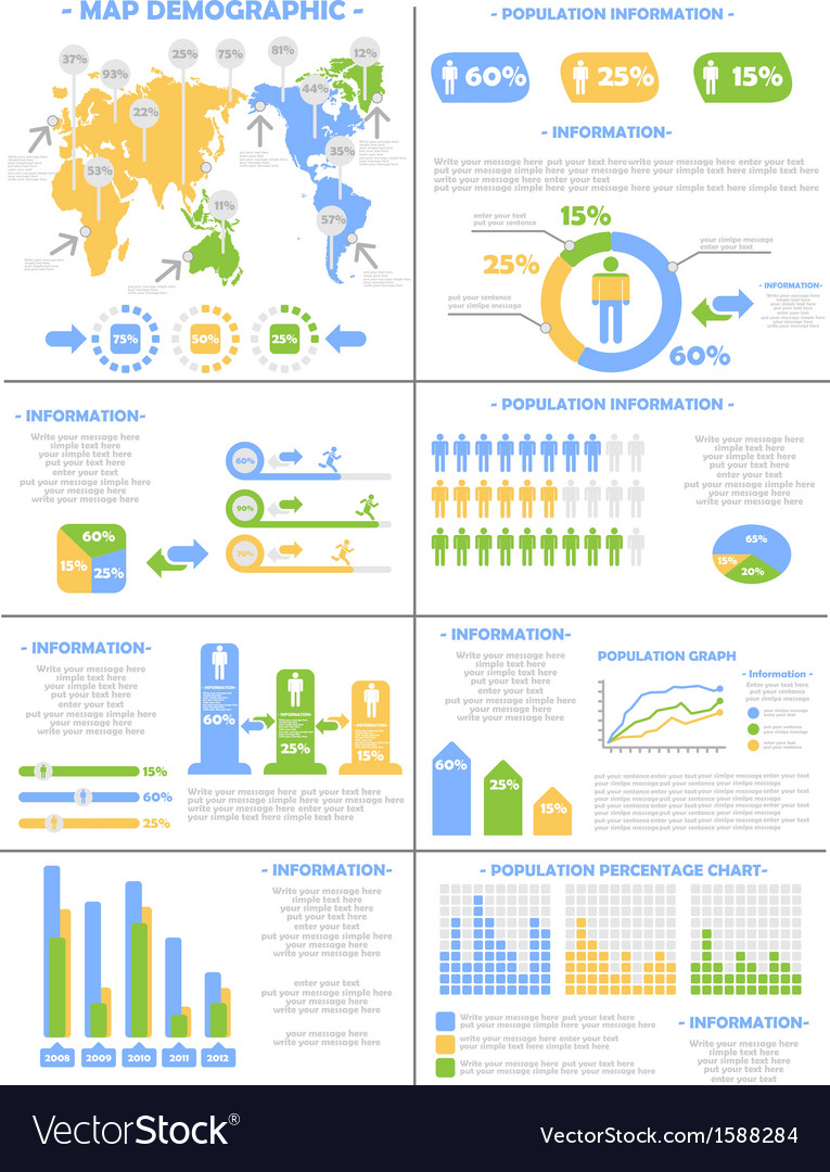 Infographic demographics population 3 vector | Price: 1 Credit (USD $1)