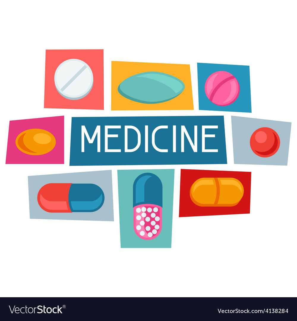 Medical background design with pills and capsules vector | Price: 1 Credit (USD $1)