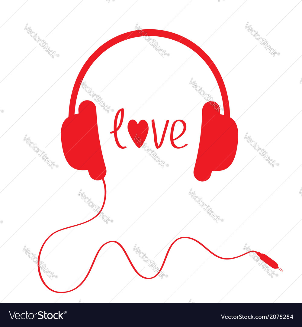 Red headphones with cord isolated love card vector | Price: 1 Credit (USD $1)