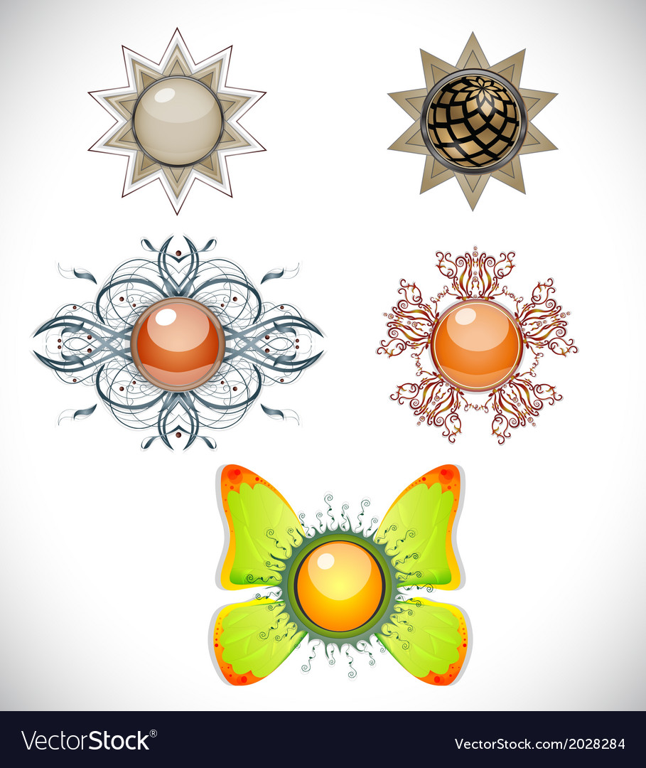 Set with brooches vector | Price: 1 Credit (USD $1)