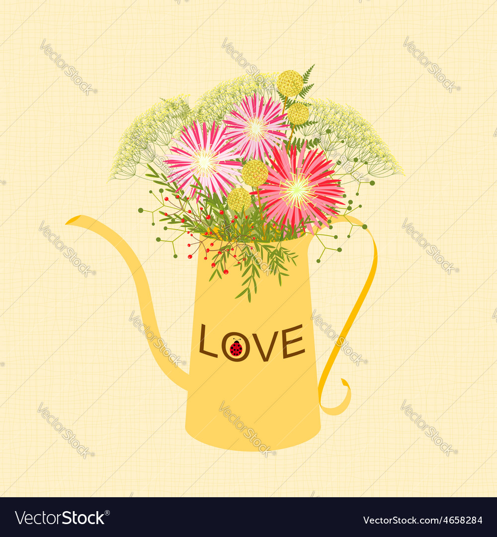 Springtime colorful flower watering can background vector