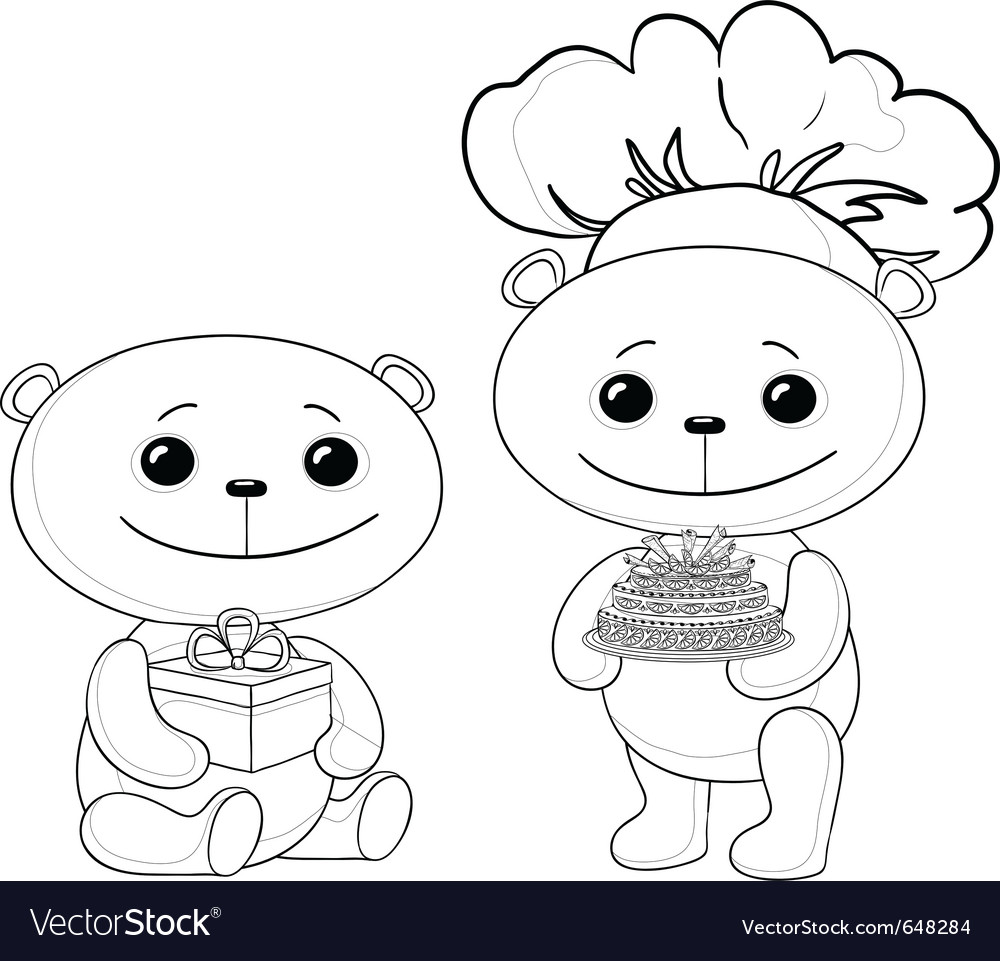 Teddy bears with cake and gift box contours vector | Price: 1 Credit (USD $1)