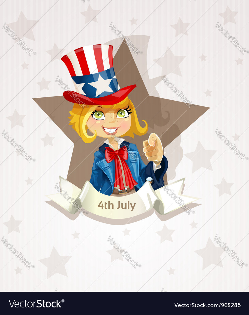 4th july poster with pretty blond girl vector | Price: 3 Credit (USD $3)