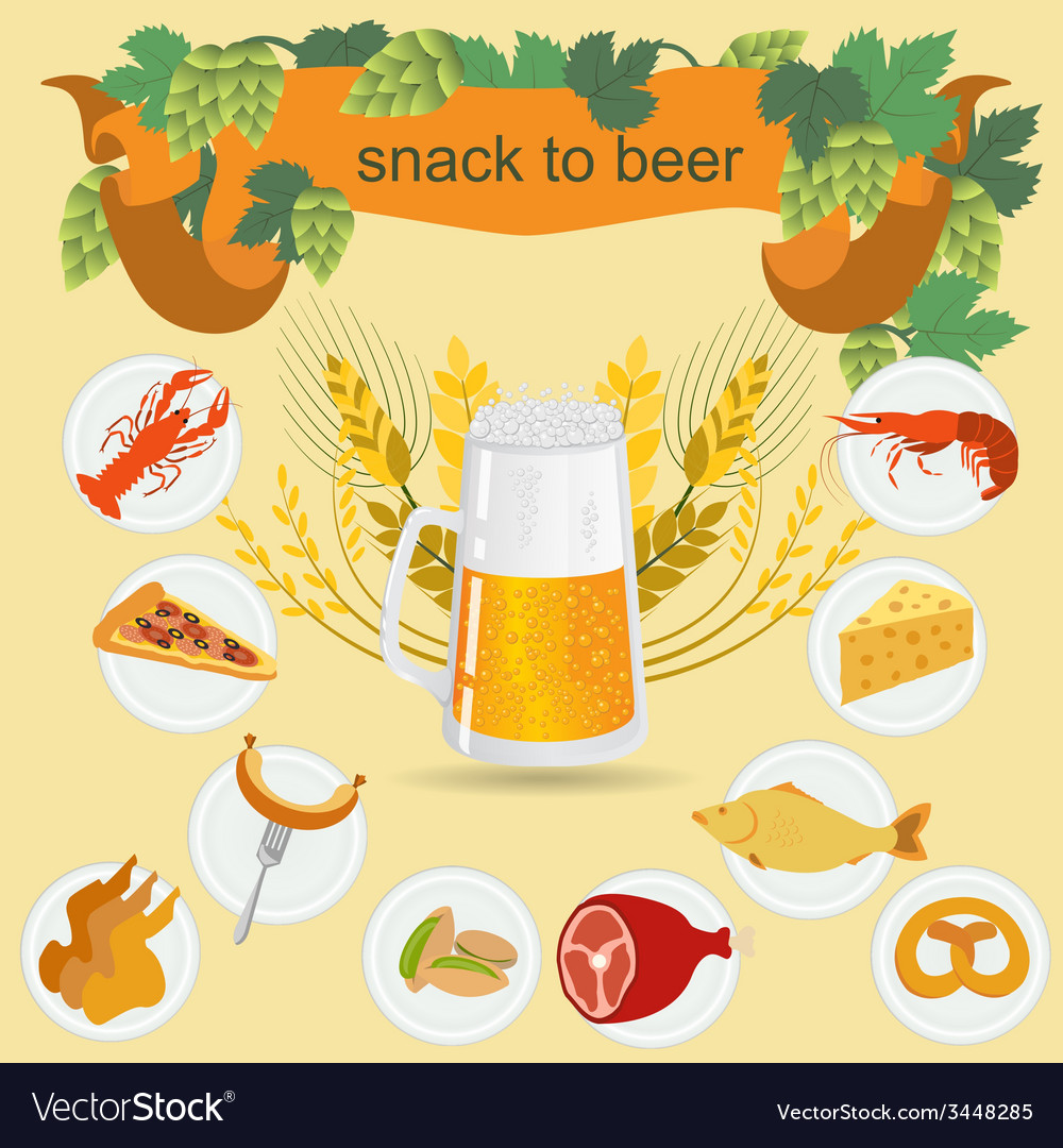 Beer snack infographics set elements for creating vector | Price: 1 Credit (USD $1)