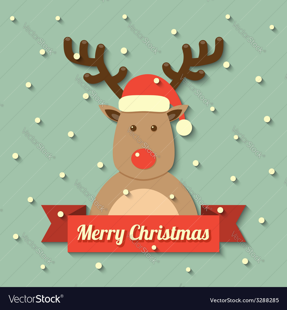 Christmas reindeer background vector | Price: 1 Credit (USD $1)