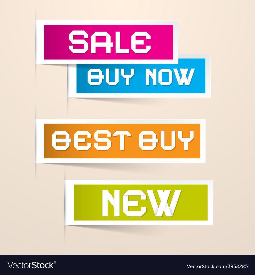 Colorful paper business sale labels vector | Price: 1 Credit (USD $1)
