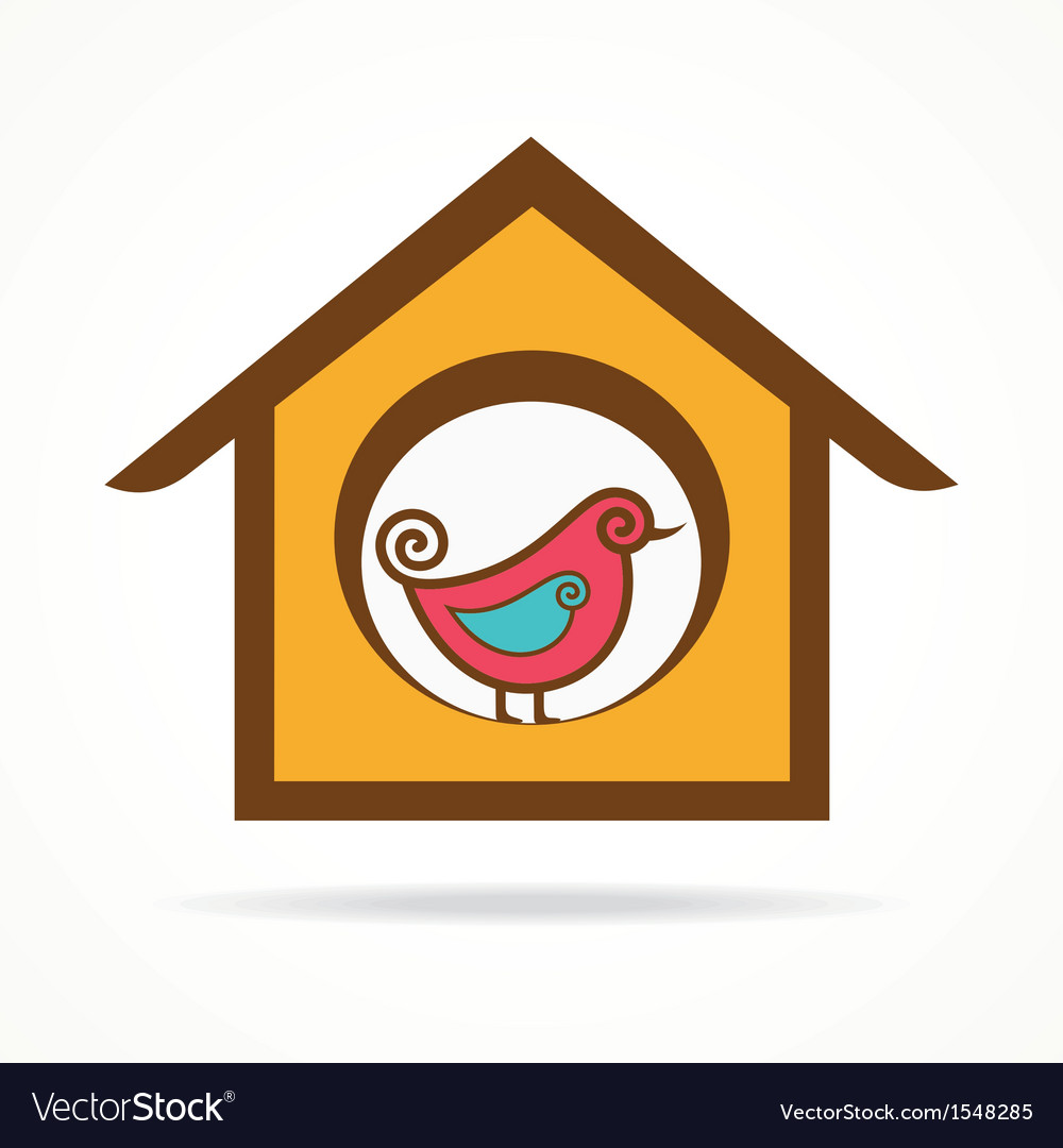 Funny bird in feeder vector | Price: 1 Credit (USD $1)