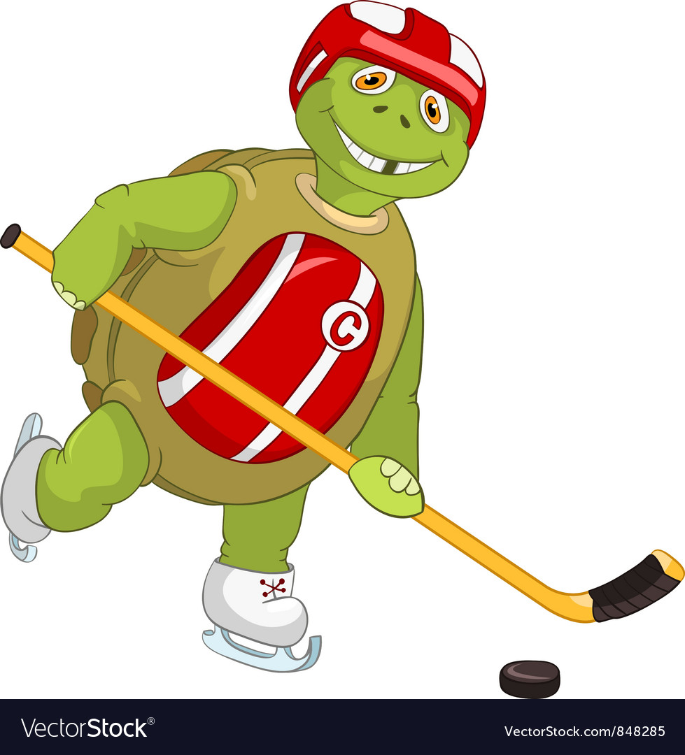 Funny turtle hockey player vector | Price: 3 Credit (USD $3)