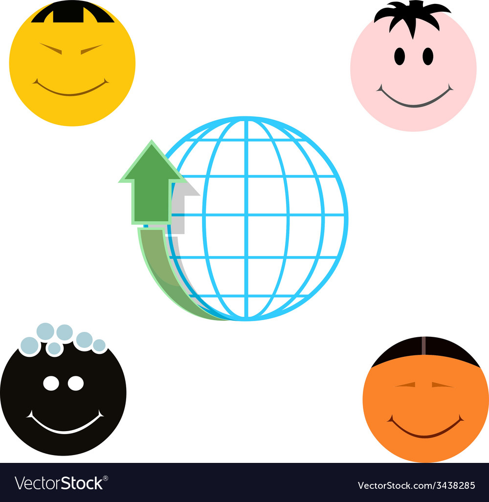 Globe with arrow up and four different national vector | Price: 1 Credit (USD $1)