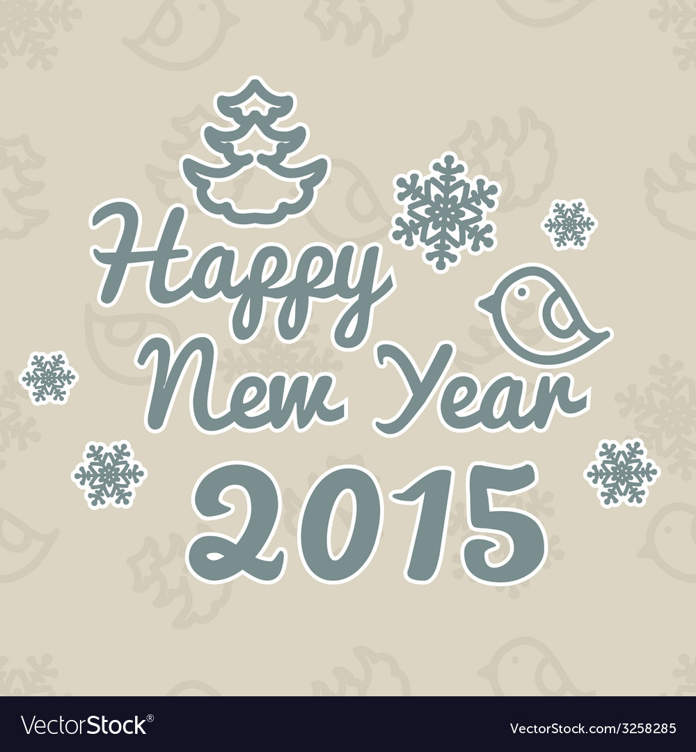 Happy new year christmas frame on snow background vector | Price: 1 Credit (USD $1)