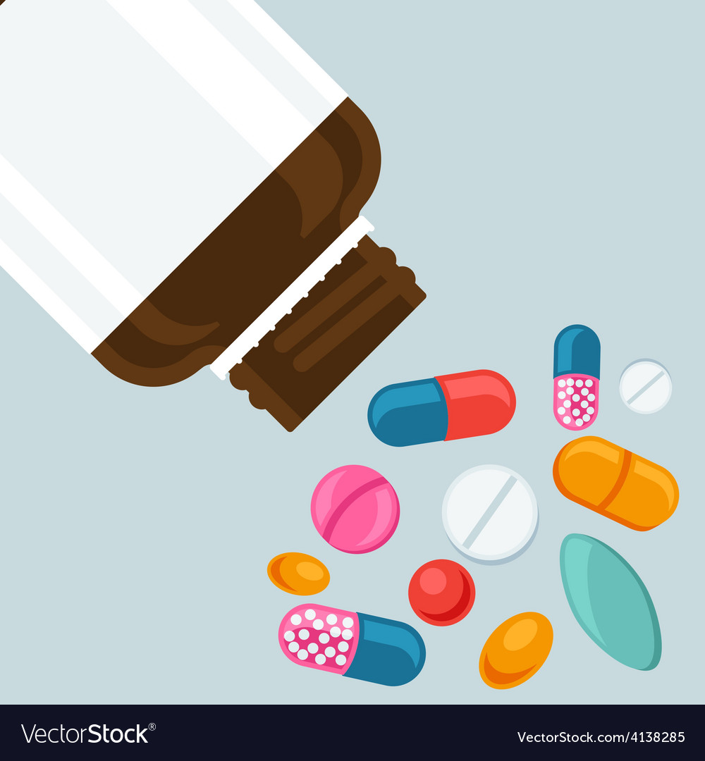 Pill bottle with various pills and capsules vector | Price: 1 Credit (USD $1)