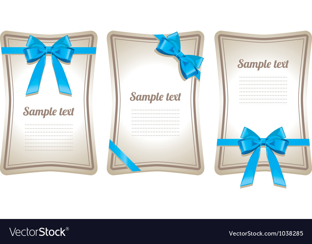 Set of card note with gift bows vector | Price: 1 Credit (USD $1)