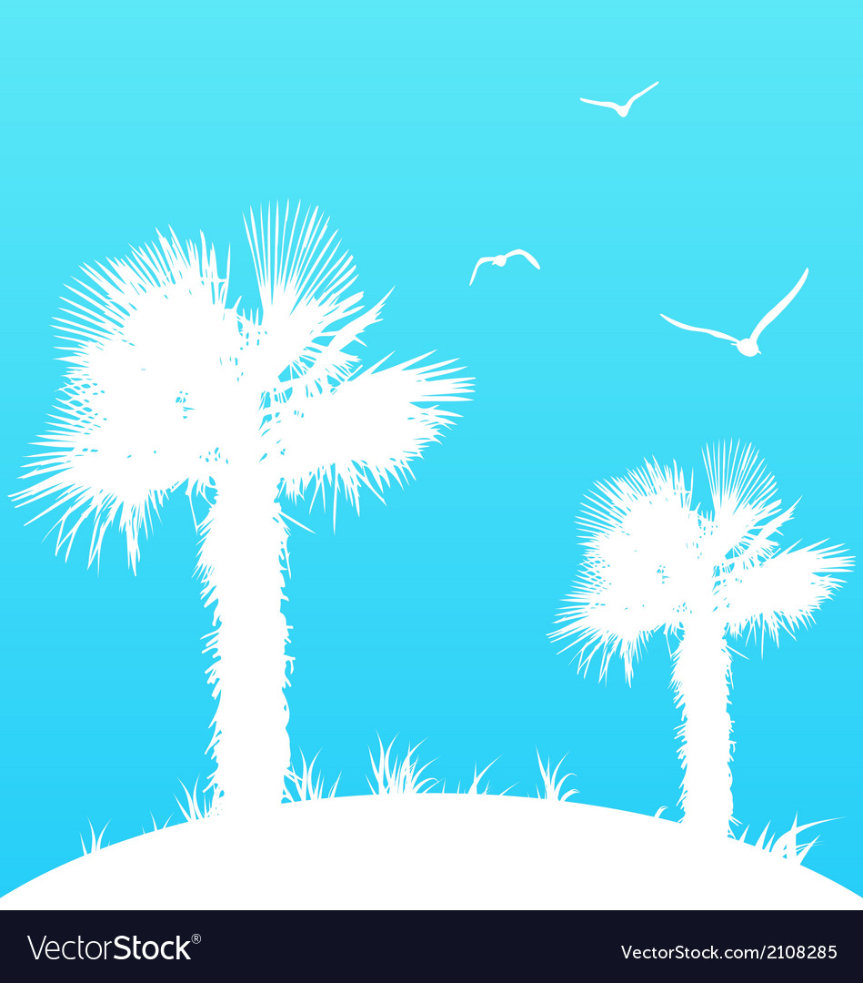 Summer background with palm trees and seagulls vector | Price: 1 Credit (USD $1)