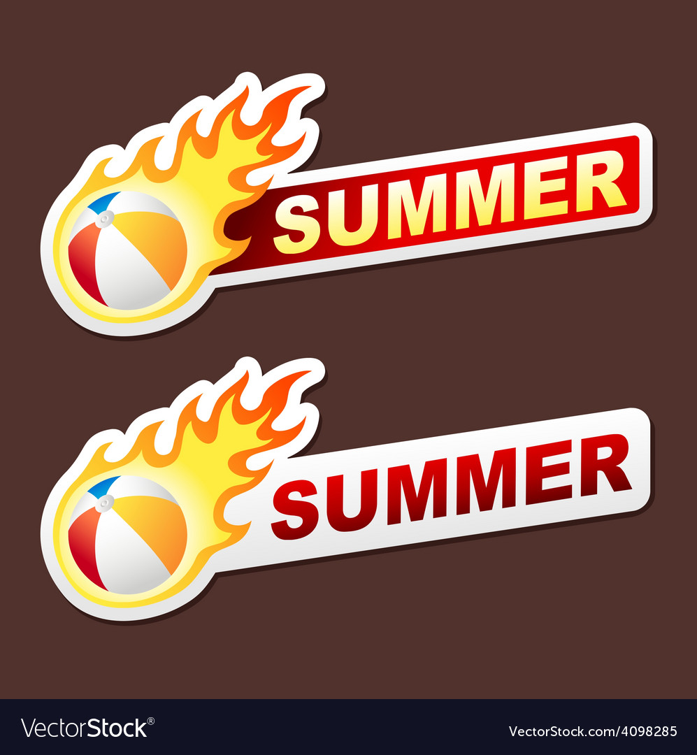 Summer flame sticker banner label tag vector | Price: 1 Credit (USD $1)