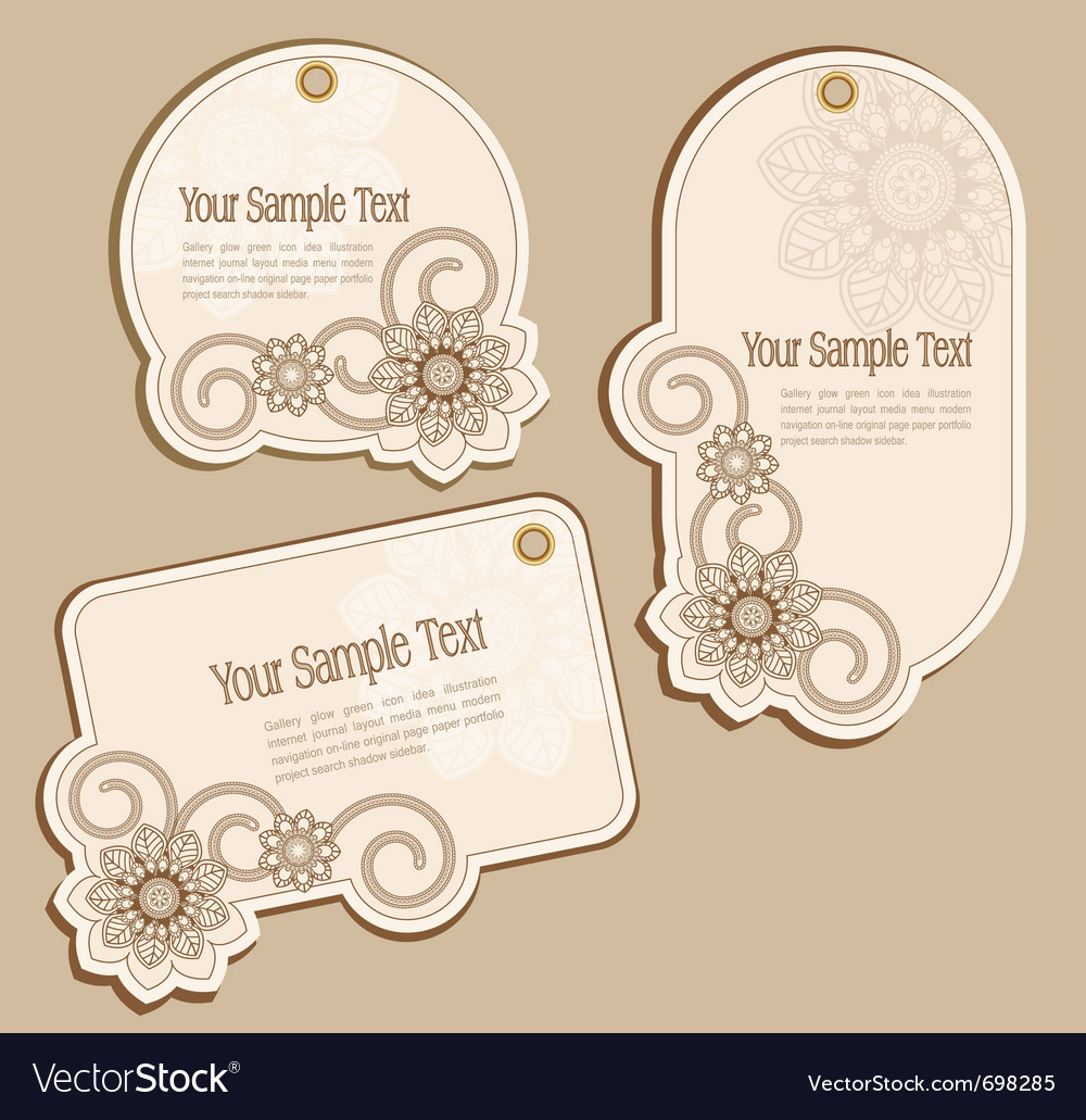 Vintage floral price tags vector | Price: 1 Credit (USD $1)