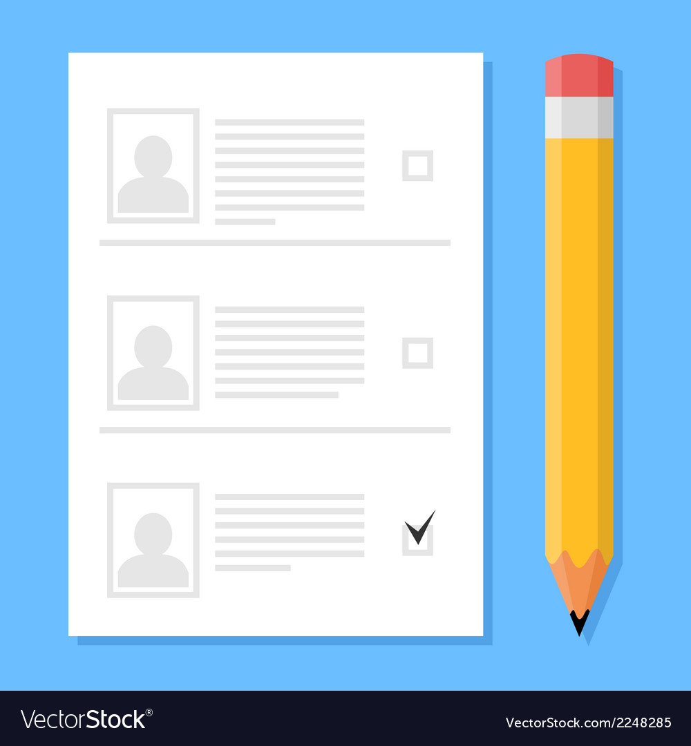 Voting sheet and pencil vector | Price: 1 Credit (USD $1)