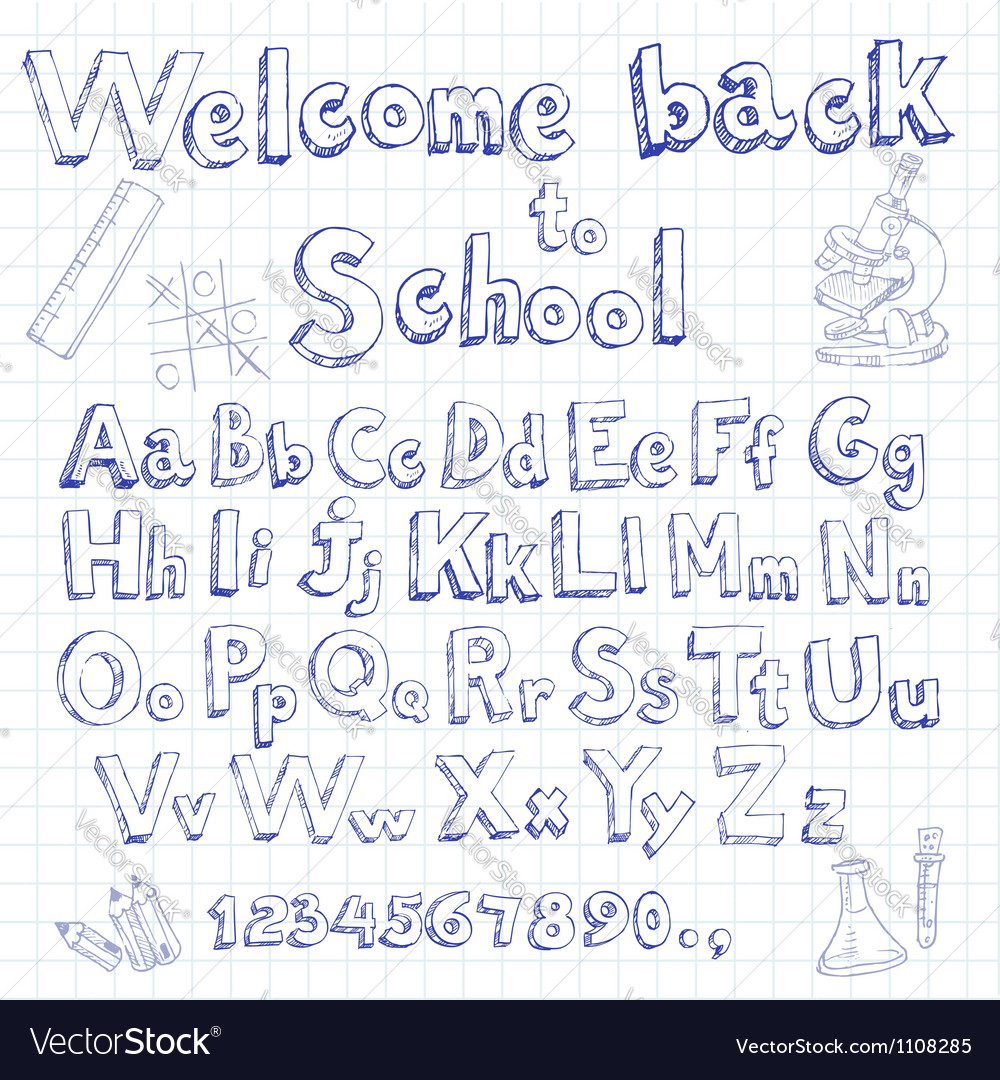 Welcome back to school font on lined sheet vector | Price: 1 Credit (USD $1)