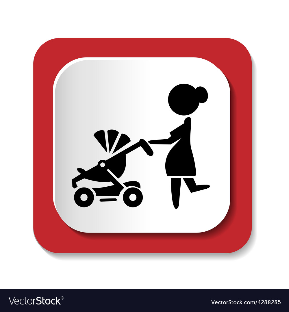 Woman with a stroller icon vector | Price: 1 Credit (USD $1)