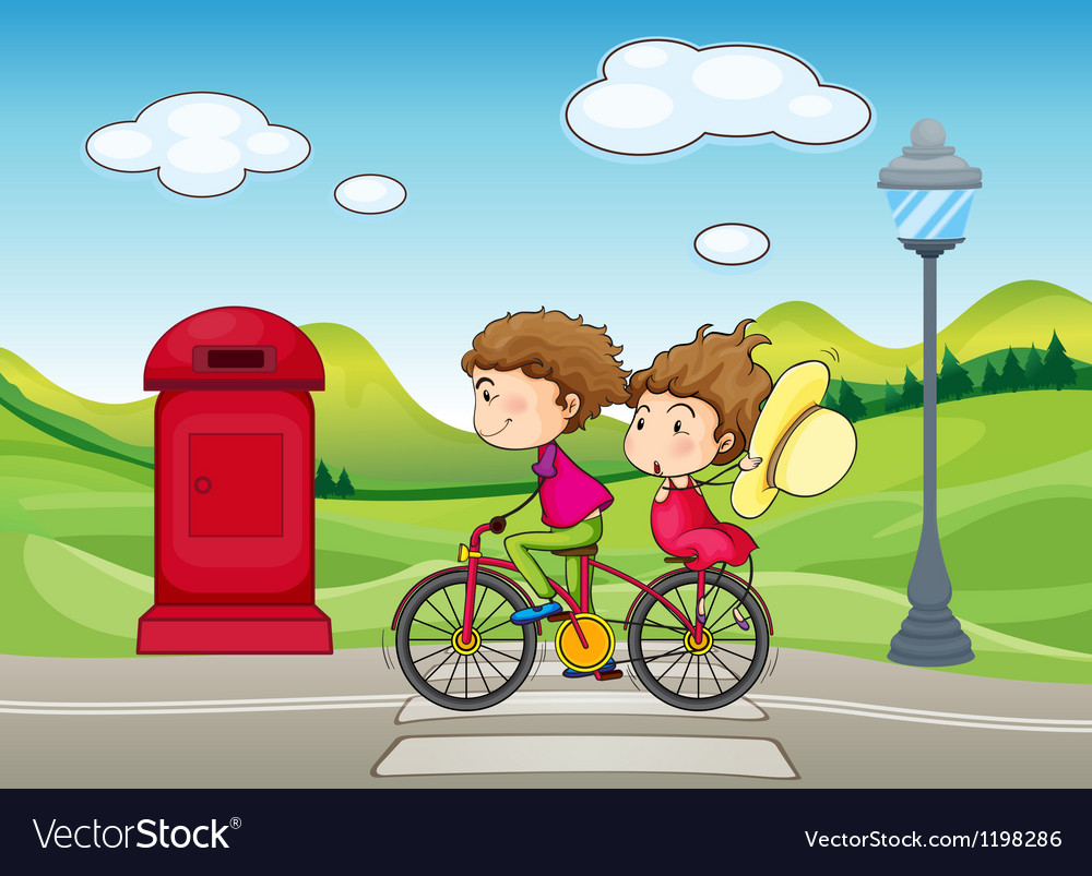 A boy and a girl biking vector | Price: 1 Credit (USD $1)