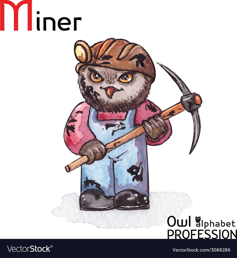 Alphabet professions owl letter m - miner vector   Price: 1 Credit (USD $1)
